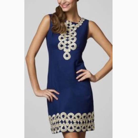 4a6e565d5030c Lilly Pulitzer Dresses   Skirts - Lilly Pulitzer navy gold Adelson shift  dress ...